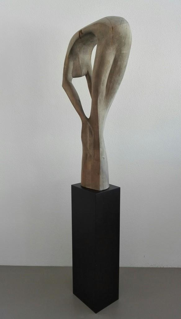 """""""Grau des Alltags"""" Linde, MDF und Acryl, 1,77 m, 2016"""